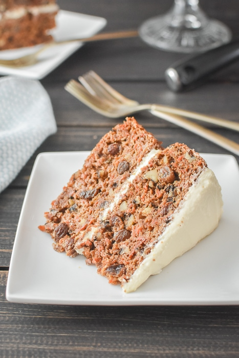 a slice of 2-layer carrot cake