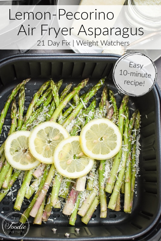 This lemon-pecorino air fryer asparagus is an easy, bright, delicious, and healthy spring and summer side dish! #21dayfix #glutenfree #healthy #healthysidedish #mealprep #weightwatchers #ww #spring #summer #mothersday #easter #brunch #healthybrunch