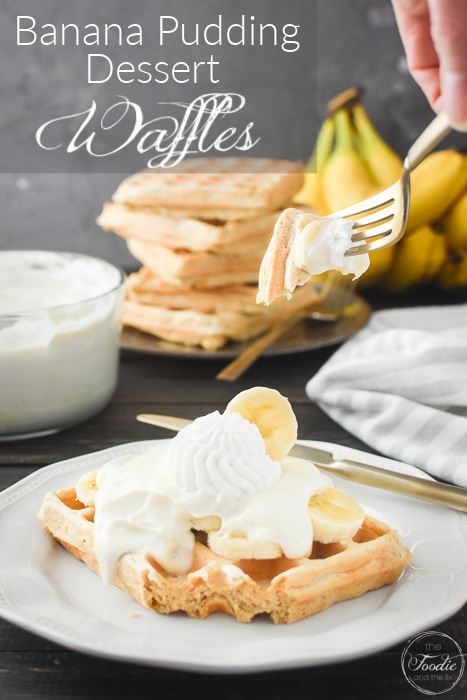 These Banana Pudding Dessert Waffles are a sweet treat perfect for Mother's Day brunch or anytime you want an extra special breakfast (or dessert)! 21 Day Fix and Weight Watchers friendly, too! #21dayfix #ww #mothersday #brunch #breakfast #healthybreakfast #healthybrunch #healthy #holiday #holidaybreakfast #Easter