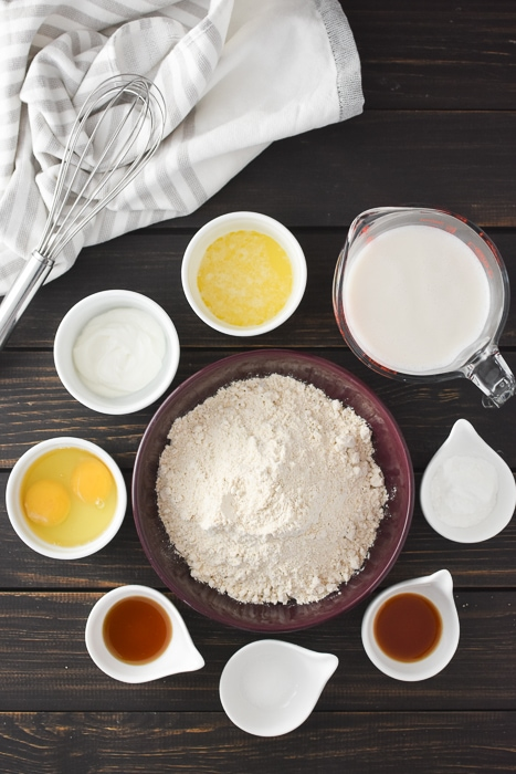 all of the ingredients for whole wheat waffles