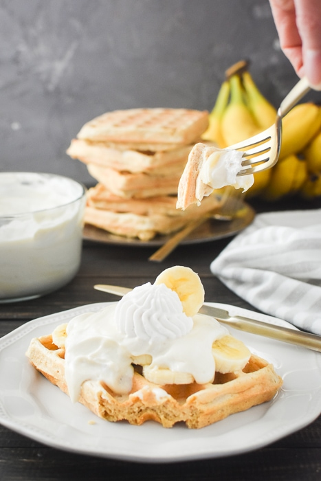 taking a bite out of banana pudding dessert waffles