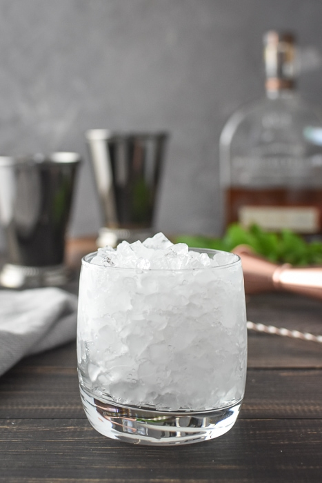 a glass of crushed ice