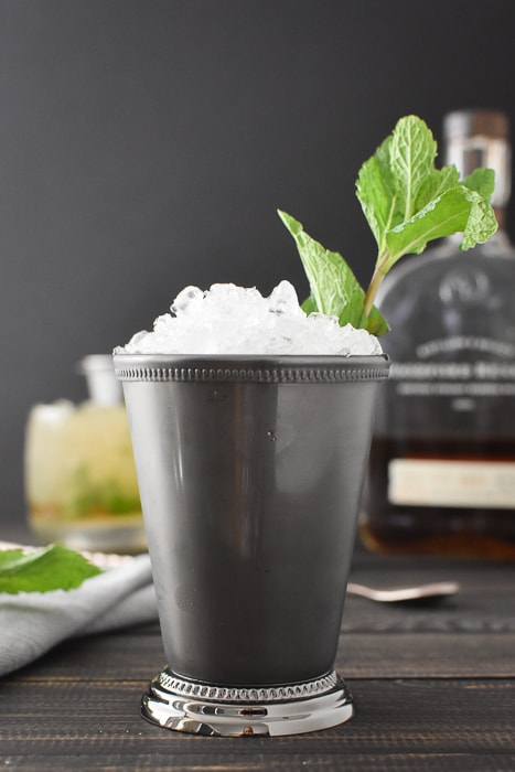 a julep cup filled with ice