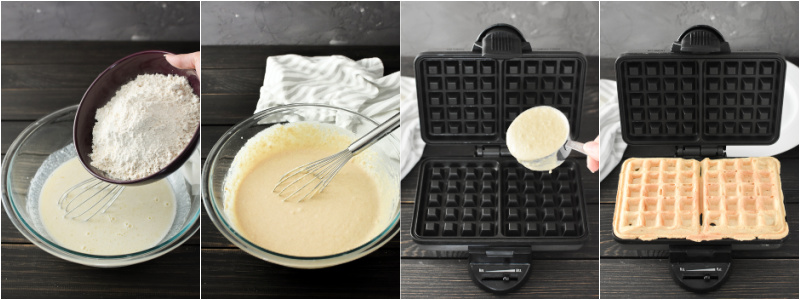 Adding ingredients to a bowl to make waffle batter