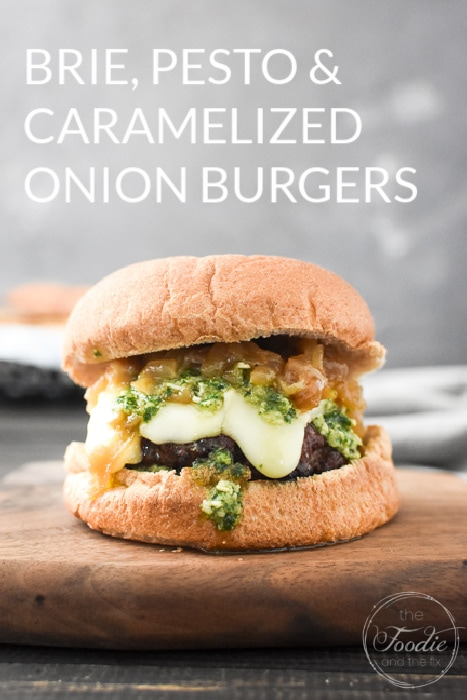 Brie, Pesto and Caramelized Onion Burgers can be made as beef or turkey burgers and are so decadent! Perfect for company, 21 Day Fix and WW! #21dayfix #ww #weightwatchers #grill #grilling #barbecue #memorialday #turkeyburger #laborday #4thofjuly #fourthofjuly #fathersday