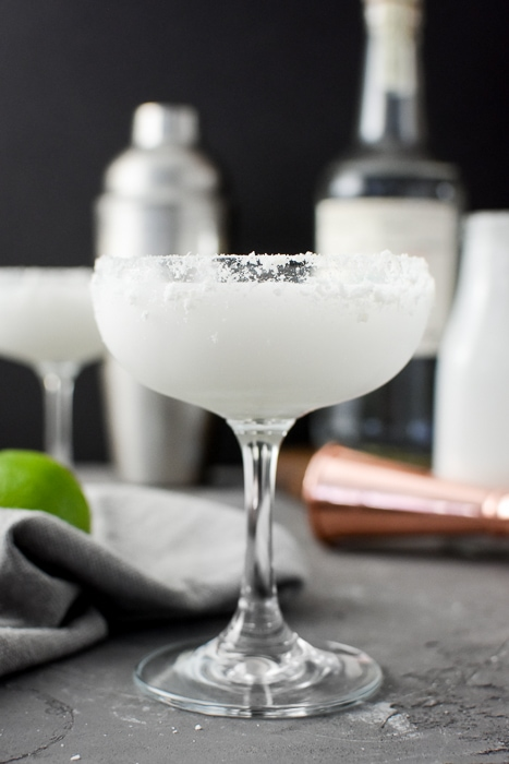 Skinny Coconut-Lime Margarita in a coupe