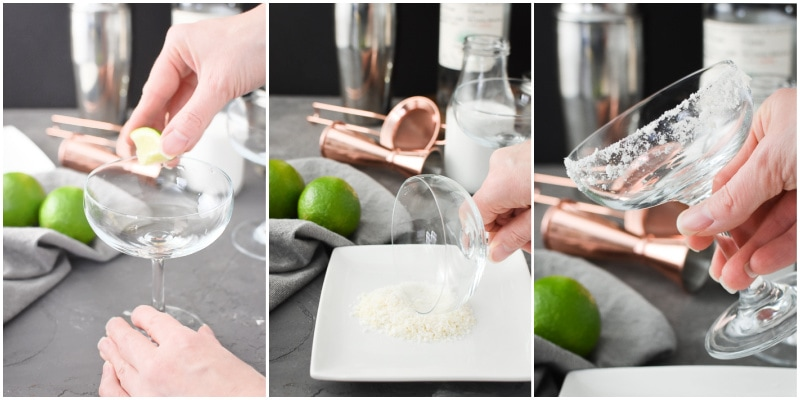 Step by step photos for rimming a margarita glass