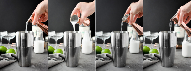 Adding all of the ingredients for a Skinny Coconut-Lime margarita to a cocktail shaker