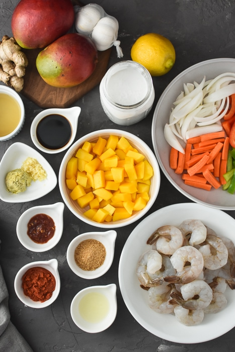 Overhead ingredient photo for Thai Mango Curry with Shrimp