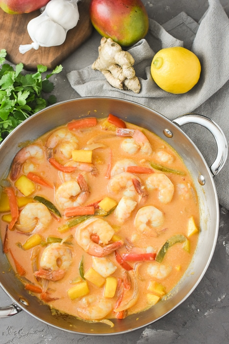 Mango and Shrimp Curry in a large sauté pan