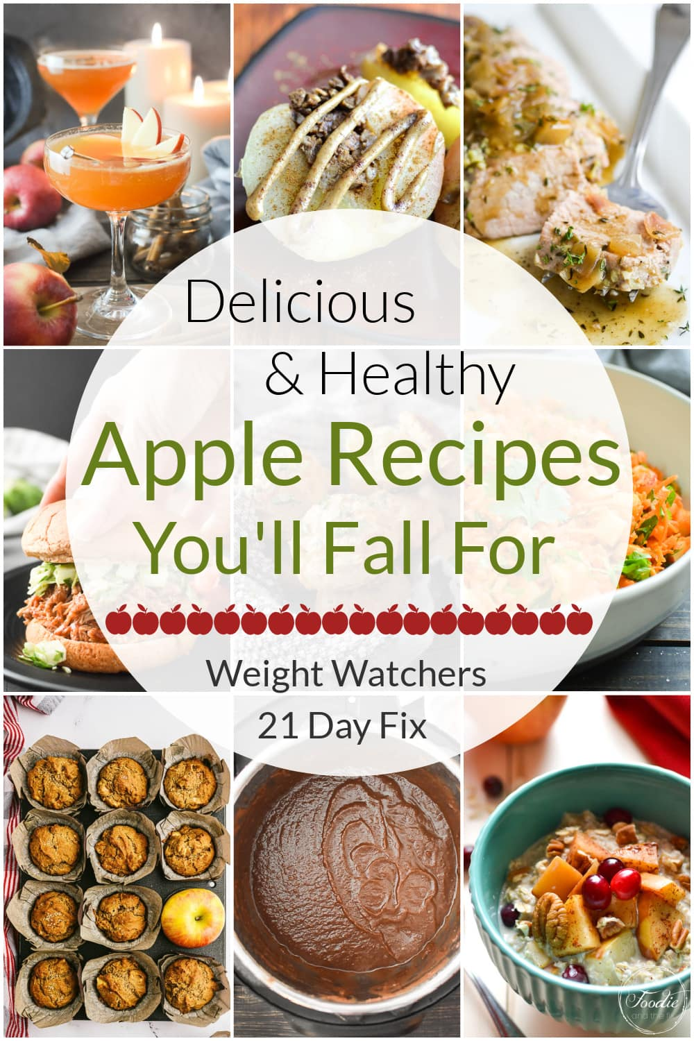 These delicious and Healthy Fall Apple Recipes are all 21 Day Fix approved and Weight Watchers friendly! Perfect for apple-picking season, most of them are kid-friendly, too! #21dayfix #beachbody #healthyrecipes #healthy #fall #healthyfall #apples #applerecipes #ww #weightwatchers #kidfriendly #thanksgiving